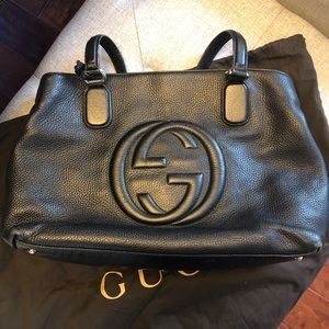 Black leather Gucci Tote